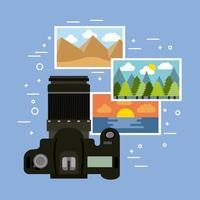 câmera fotográfica com imagens vetor