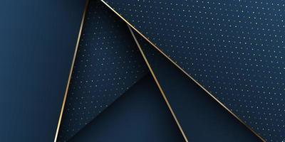 Marinha elegante e ouro 3d banner design vetor