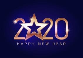 Feliz ano novo 2020 fundo com letras de ouro vetor