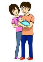 Marido, esposa e filho recém-nascido vetor