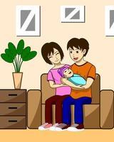 Marido, esposa e filhos vetor