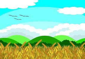 Ilustração em vetor de um campo de arroz com grãos de arroz prontos para acumular. Além, há árvores e montanhas. Durante o dia o céu está claro. É uma bela imagem natural