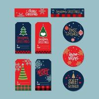 Conjunto de etiquetas de Natal vetor