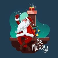 Papai Noel no telhado vetor