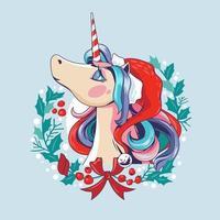 Unicórnio-Papai Noel na guirlanda de Natal