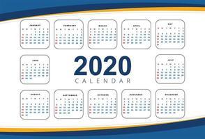 Modelo de design de calendário de ano novo de onda bonita 2020 vetor