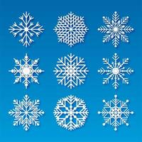 Flocos de neve de Natal decorativos definir elementos de design