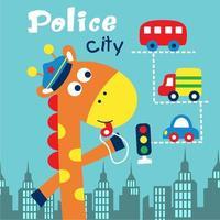 Polícia da cidade de girafa vetor