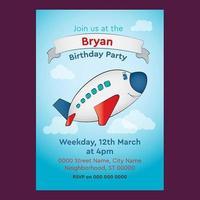 Convite editável do aniversário do avião bonito para crianças vetor