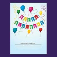 Design de cartão de aniversário de balões coloridos de fita vetor