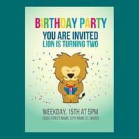Convite de aniversário bonito do leão vetor