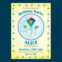 Convite bonito amarelo do aniversário para miúdos vetor