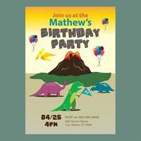 Convite de aniversário do tema do vulcão do dinossauro vetor