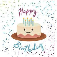 Projeto bonito do aniversário do bolo do sorriso vetor