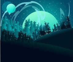 Ilustração plana de uma paisagem com aurora boreal