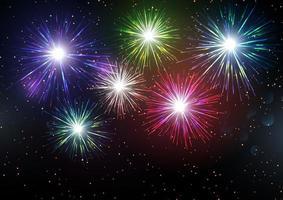 Fogos de artifício coloridos exibir plano de fundo vetor