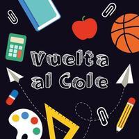Volta para a escola bandeira escrita em espanhol. vetor