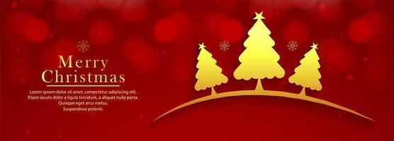 Linda árvore de Natal decorativa banner colorido fundo vetor