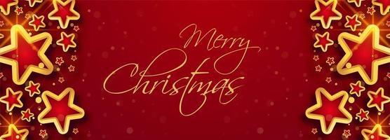 Cartão de modelo de banner de celebração de estrelas de Natal vetor