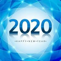 Design de texto azul brilhante 2020 ano novo vetor