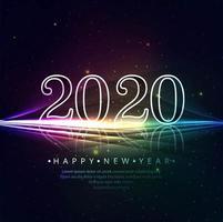 Design de texto de ano novo de luzes de néon 2020 vetor