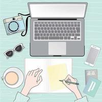 Vista superior do vetor da mão de negócios mulher escrevendo
