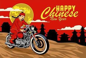 Cartão de ano novo chinês com homem em roupas tradicionais, andar de moto vetor