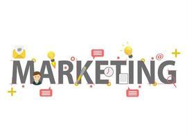 Conceito de marketing de palavra com elementos vetor