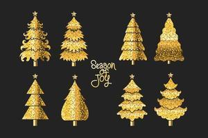 Conjunto de design de árvore de Natal em cores preto e dourado vetor