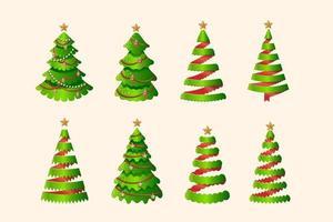 Conjunto de árvore de Natal estilizada em fita tridimensional