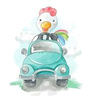 frango dirigindo um carro