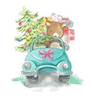 urso dirigindo um carro com caixas de presentes