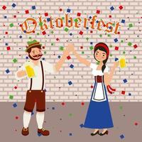 oktoberfest celebração confetti casal de mãos dadas e cervejas vetor