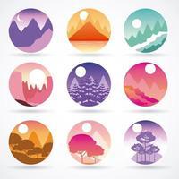 conjunto de paisagem de viagens de desejo