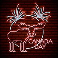 dia canadá, néon, sinal, com, alce
