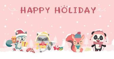 Felizes fofos animais selvagens em traje de Natal de inverno vetor