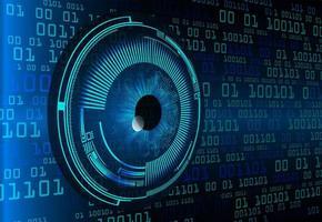 Conceito de tecnologia futura de circuito cibernético de olhos azuis
