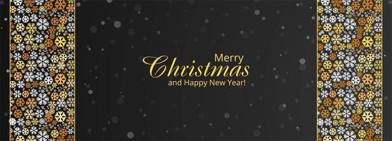 Feliz Natal flocos de neve e feliz ano novo banner design vetor