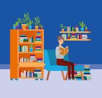 Sala de estudo em casa com livro de leitura de mulher