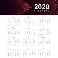 Calendário para o ano novo de 2020 vetor