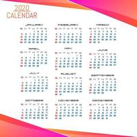 Modelo de calendário simples negócios estilo 2020 vetor