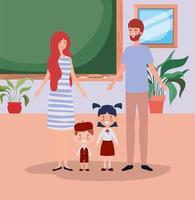 casal de professores com crianças alunos pequenos na sala de aula