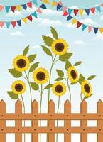 festa junina com cerca e jardim de girassóis vetor