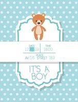 é um cartão de chá de bebê menino com ursinho de pelúcia vetor