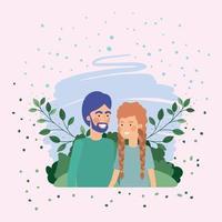 amantes do jovem casal no campo vetor