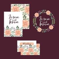 conjunto de modelo de cartões de casamento