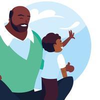 pai e filho com padrão de nuvens do céu vetor