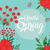 Olá cartão de primavera com decoração de lindas flores
