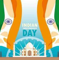cartaz do dia da independência indiana com bandeira e taj majal mesquita