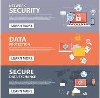 Modelo de banner de ícones plana de segurança de rede, proteção de dados, troca segura de dados